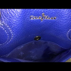 Cole Haan Bags - Cole Haan Blue Pebbled Leather Market/Tote Bag